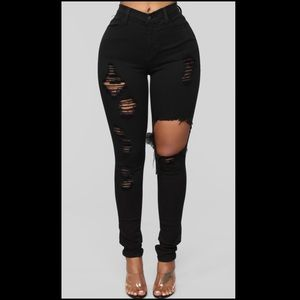 Fashion nova black glistening jeans